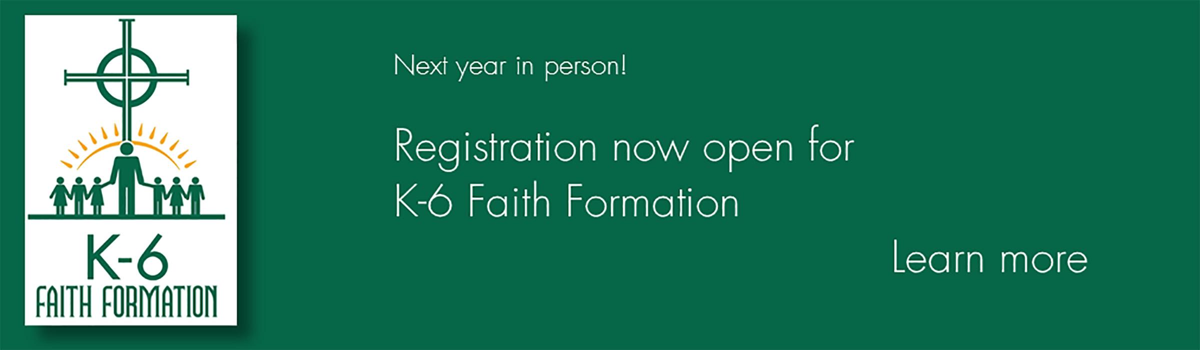 K-6 RE registration 2021-22 slider